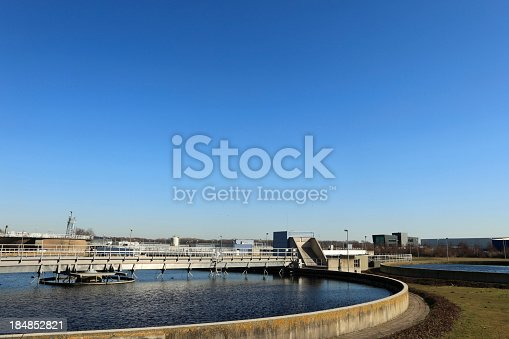 wide angle view of a water purification plant; Hoek van Holland, Netherlands