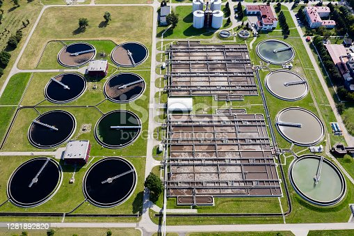 istock Water Purification Plant, Aerial View 1281892820