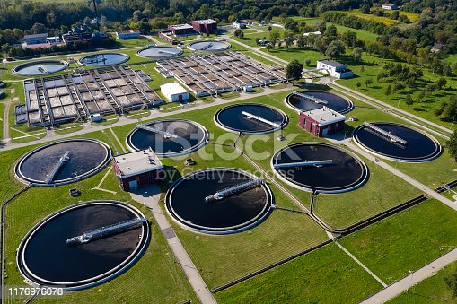 Aerial view of a water purification station viewed from above.
