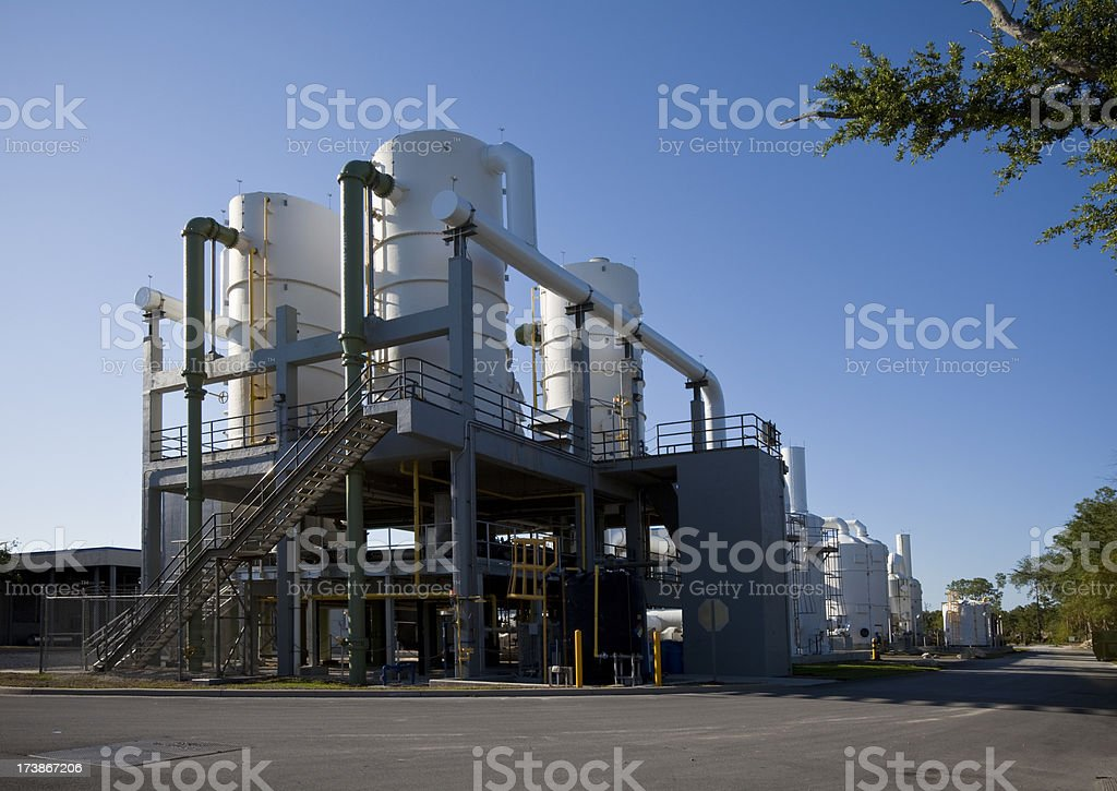 Water Purification Plant Late Day Long Shadows royalty-free stock photo