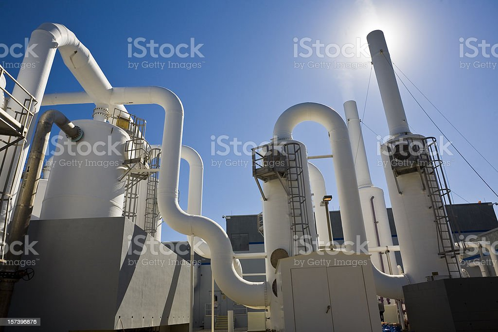 Water Purification Plant Under Sun and Blue Sky royalty-free stock photo