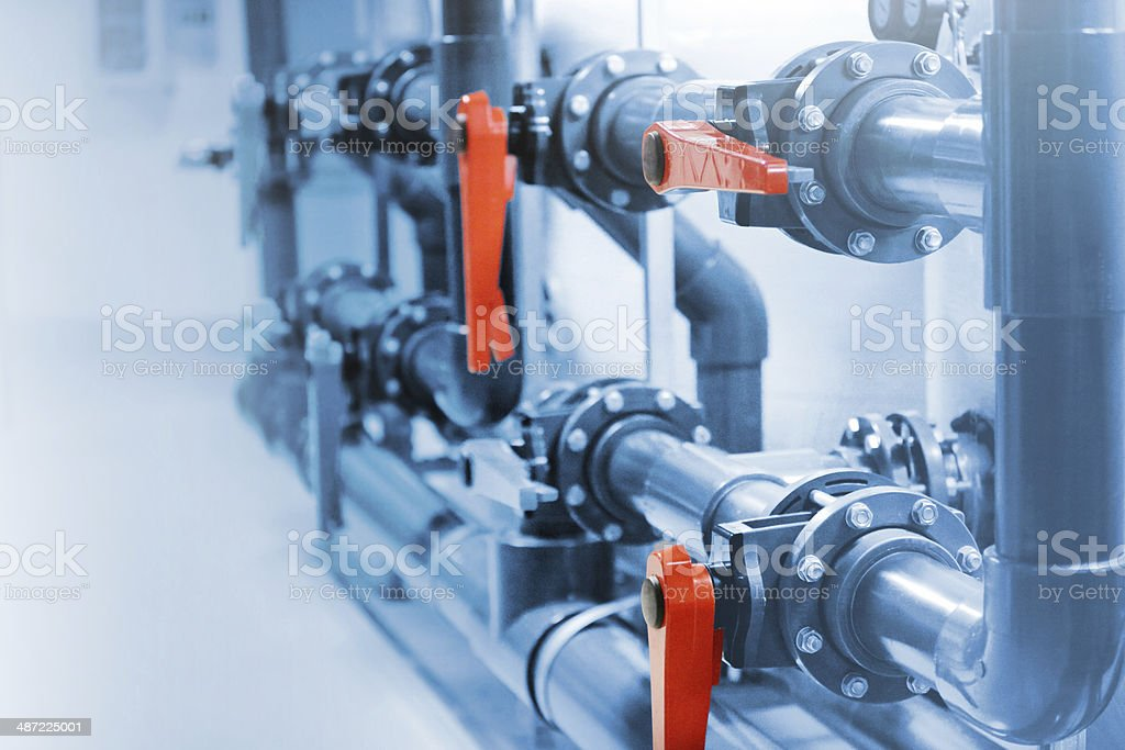 Water purification system in factory stock photo