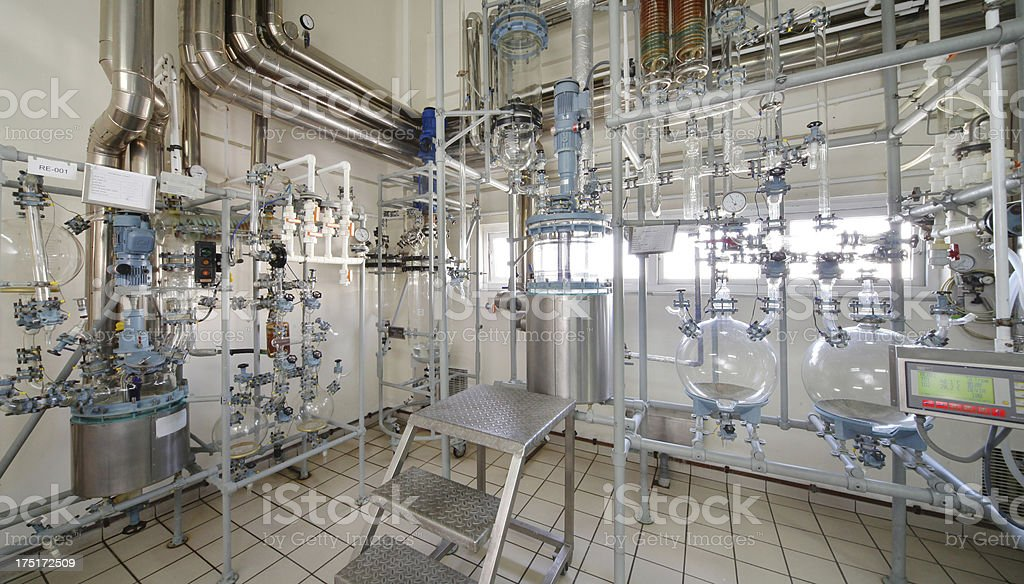 Water purification system in pharmaceutical factory royalty-free stock photo