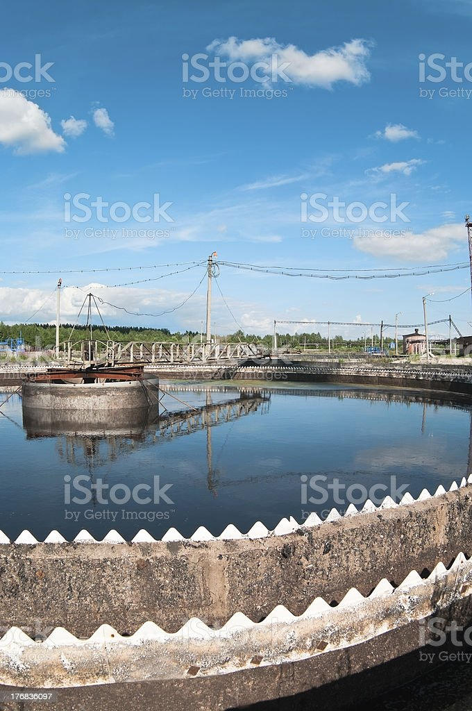 Water recycling, settling, purification on biological station royalty-free stock photo