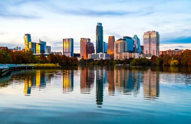 Wasser Refletion Austin Texas Innenstadt Hintergrund Bildschirmschoner – Foto