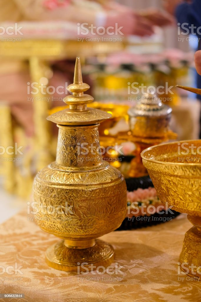 Water relaunch for the Thai traditional wedding ceremony stock photo