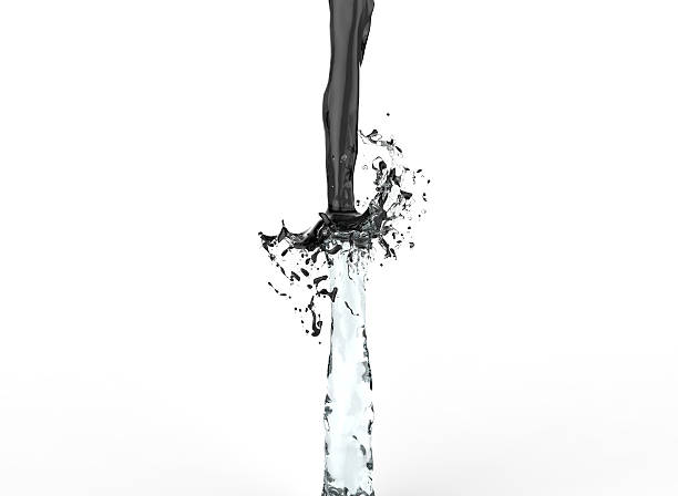 water repelling black oil stock photo
