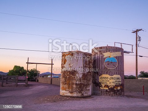 On the mythic Route 66, tourists can admire in July 2019 a beautiful sunset in Seligman in Arizona