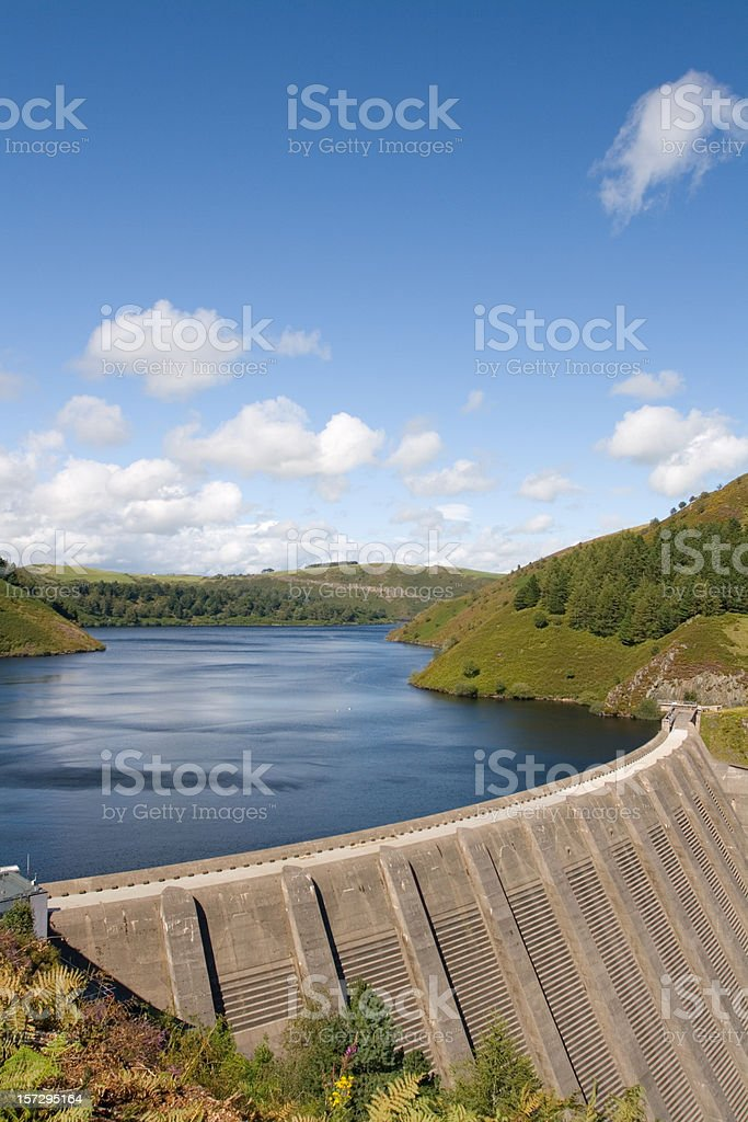 Water Reservoir on River Severn, Wales stock photo