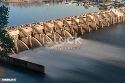 A long exposure of a water release through 6 of the spillway gates from Nimbus Dam Sacramento, CA