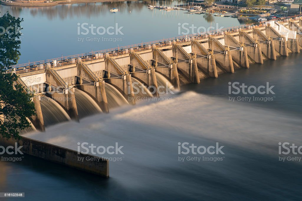 Water Reservoir Release Drinking lake Dam Nimbus Natoma Conservation Drought stock photo