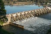Water release through 6 of the spillway gates from Nimbus Dam Sacramento, CA