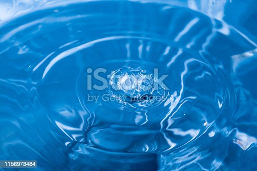 607461154 istock photo Water ripple background. Splashes from a drop of water. Raindrops on a blue background. The texture of the water. Aqua, turquoise, macro 1156973484