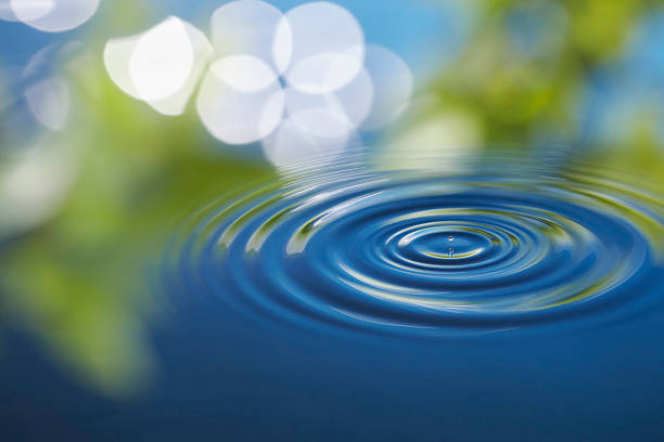 water ripple droplet causing ripple on water surface with bokeh and leaves refection rippled stock pictures, royalty-free photos & images