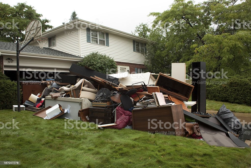 Water ruined furniture Boulder Colorado floods stock photo