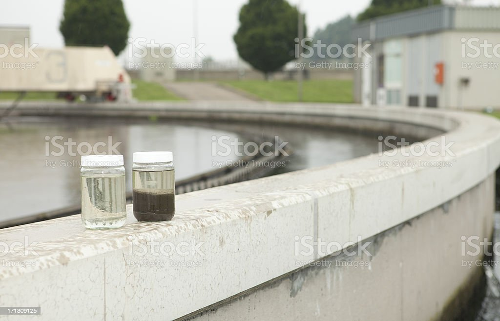 Water sample at sewage treatment plant stock photo