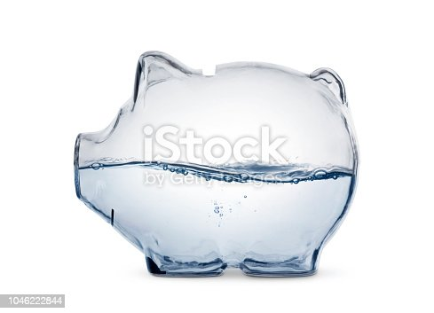 Water in the piggy bank, isolated with clipping path.