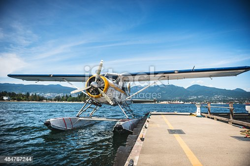 Water seaplane at the dock ready to leave