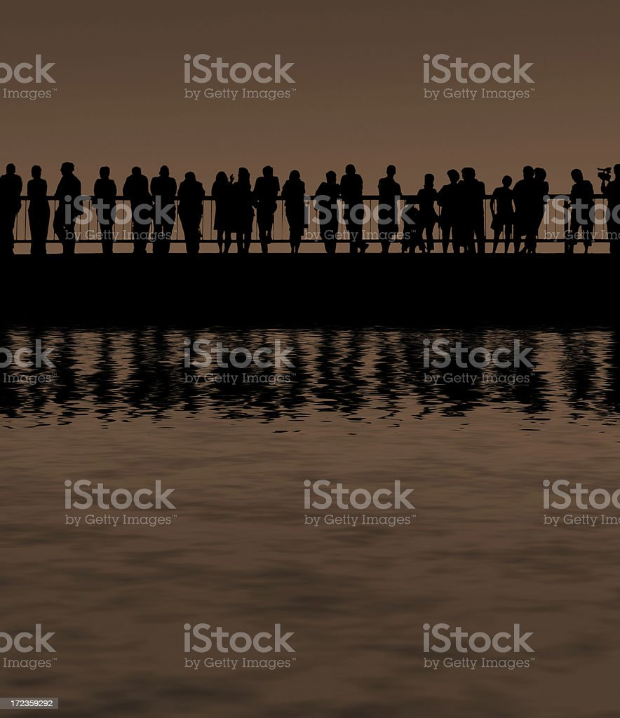 water silhouette people royalty-free stock photo