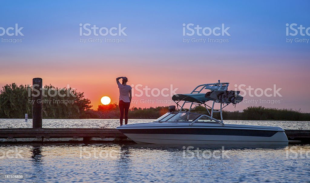 Water Ski Sunset stock photo