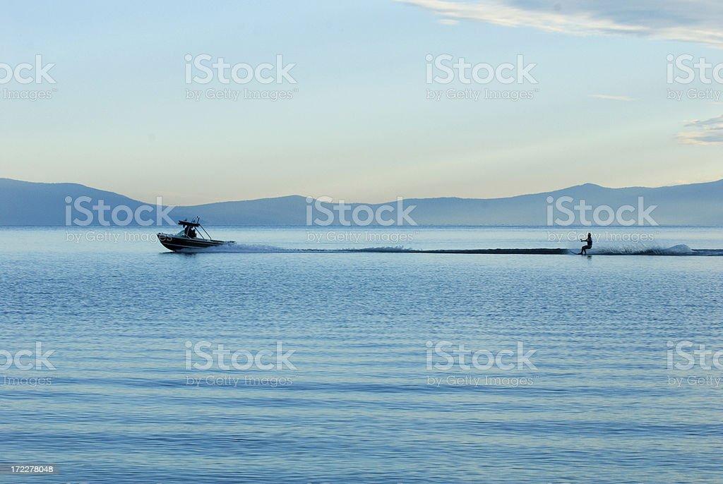 Water Skiing Lake Tahoe royalty-free stock photo