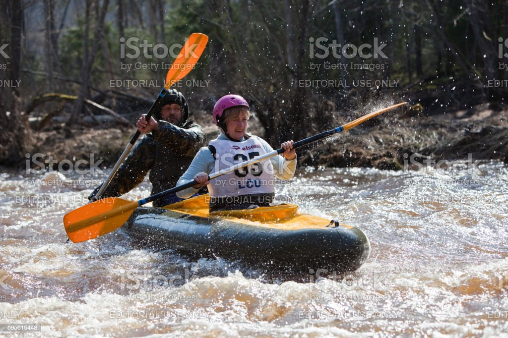 Water slalom on the wild river stock photo