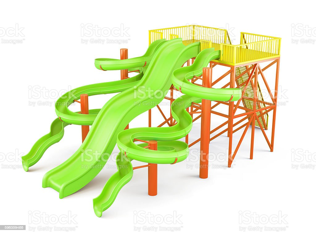 Water slides isolated on a white background. Side view. royalty-free stock photo