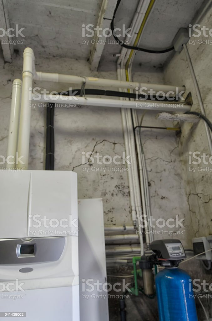 Water softener and condensing boiler stock photo