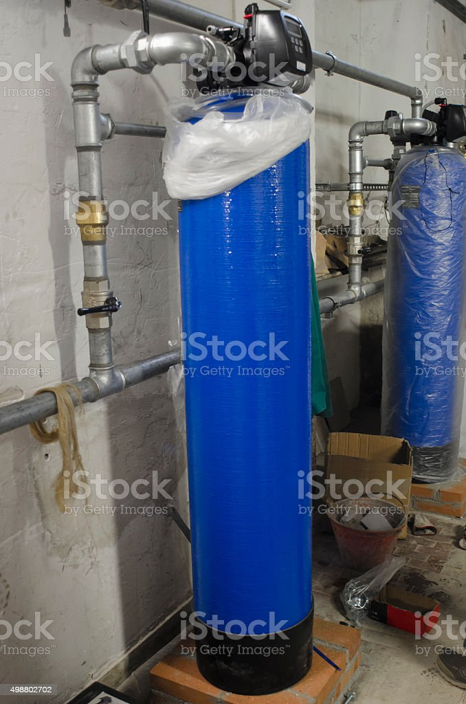 Water softeners in industrial plant stock photo