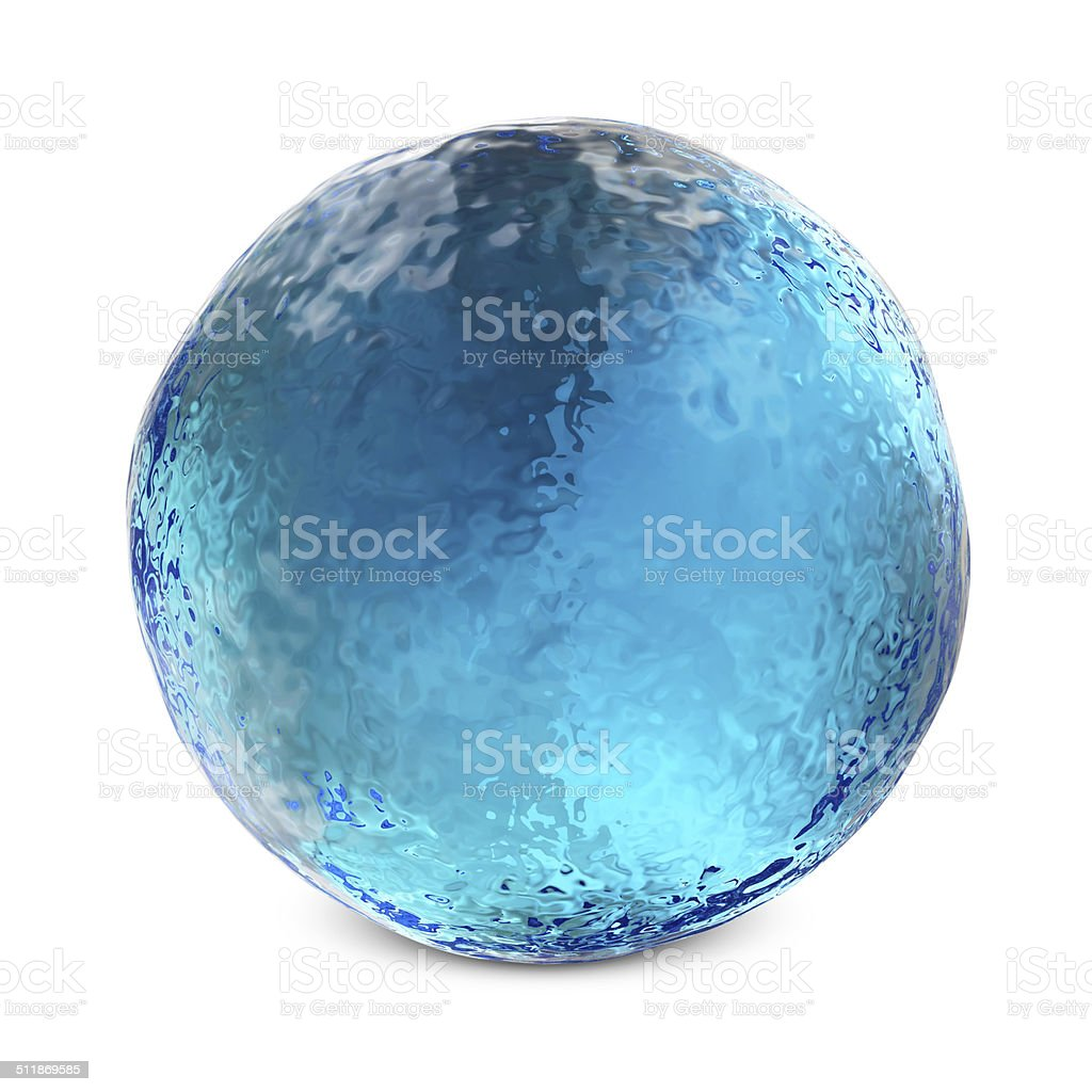 Water Sphere isolated on white background stock photo