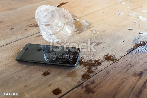 water spilled on mobile phone