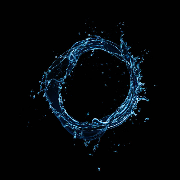 Water splash abstract circle shape on black background stock photo