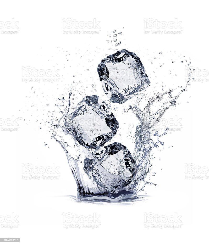 water splash and ice cube stock photo