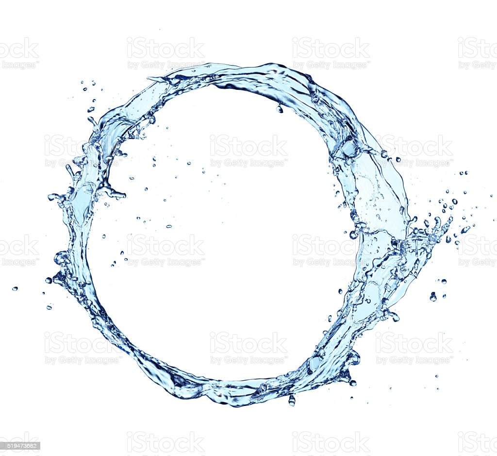 Water splash circle isolated on white background stock photo