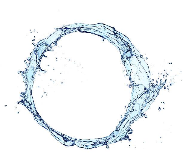 Agua Splash aislado sobre fondo blanco circular - foto de stock