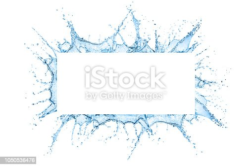 Water splash frame design with copy space inside isolated over white background