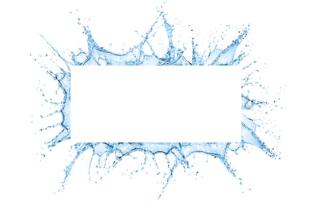 Water splash frame Water splash frame design with copy space inside isolated over white background splashing stock pictures, royalty-free photos & images