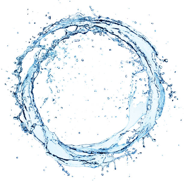 water splash in circle - round shape on white - splashing stock photos and pictures