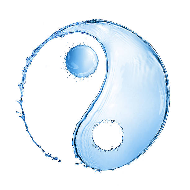 water splash in shape of yin yang sign - yin yang symbol stock pictures, royalty-free photos & images