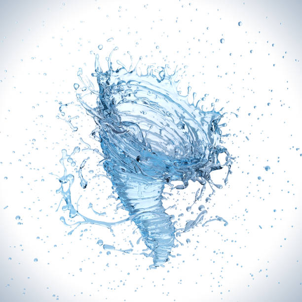 water splash into a vortex or twister shape. - wave icon stock photos and pictures