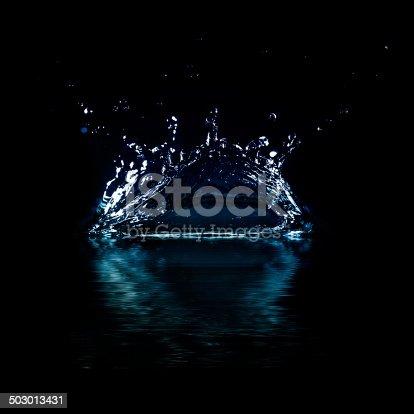 istock Water splash isolated on black background. 503013431