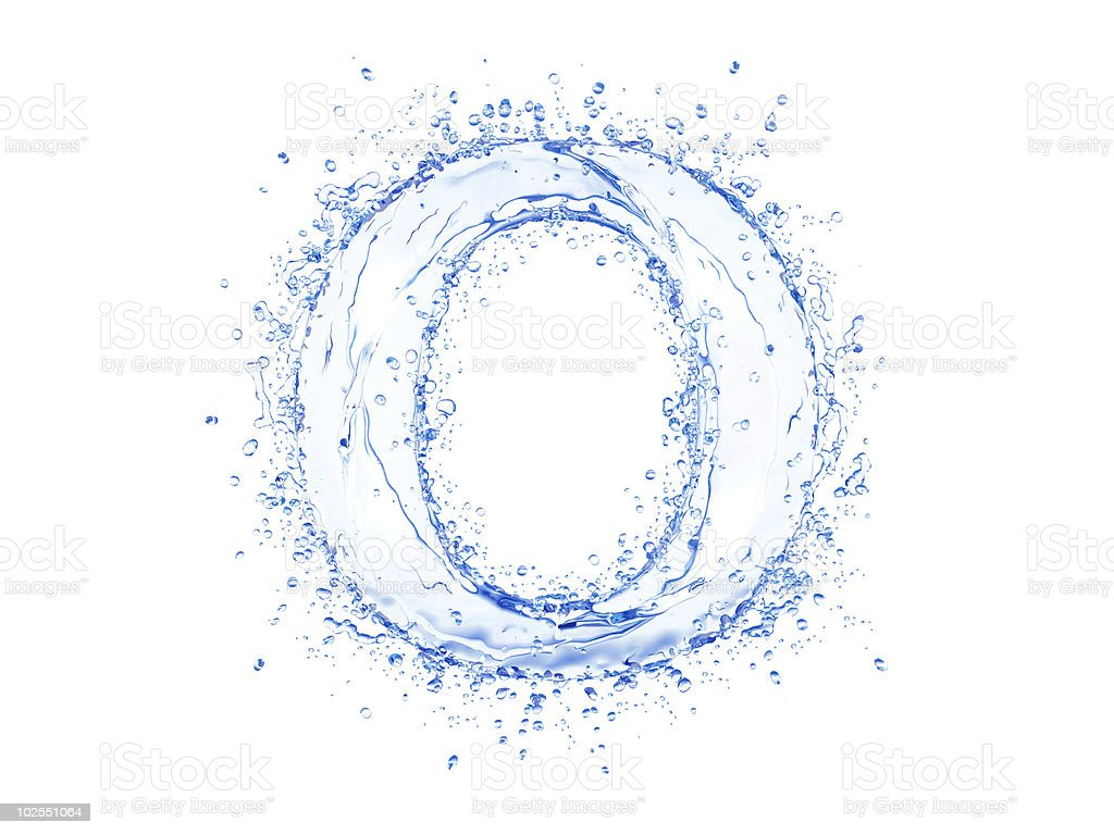 Water splash letter stock photo