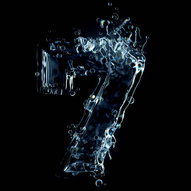 Water splash of number 7 isolated on black background Water splash of number 7 isolated on black background. High quality 3D simulation and render. number 7 stock pictures, royalty-free photos & images