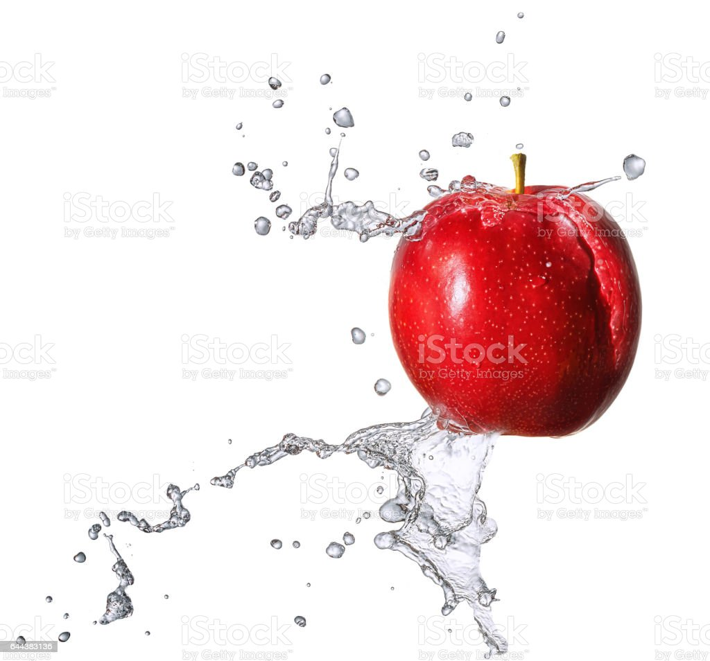 Water splash with apple isolated stock photo