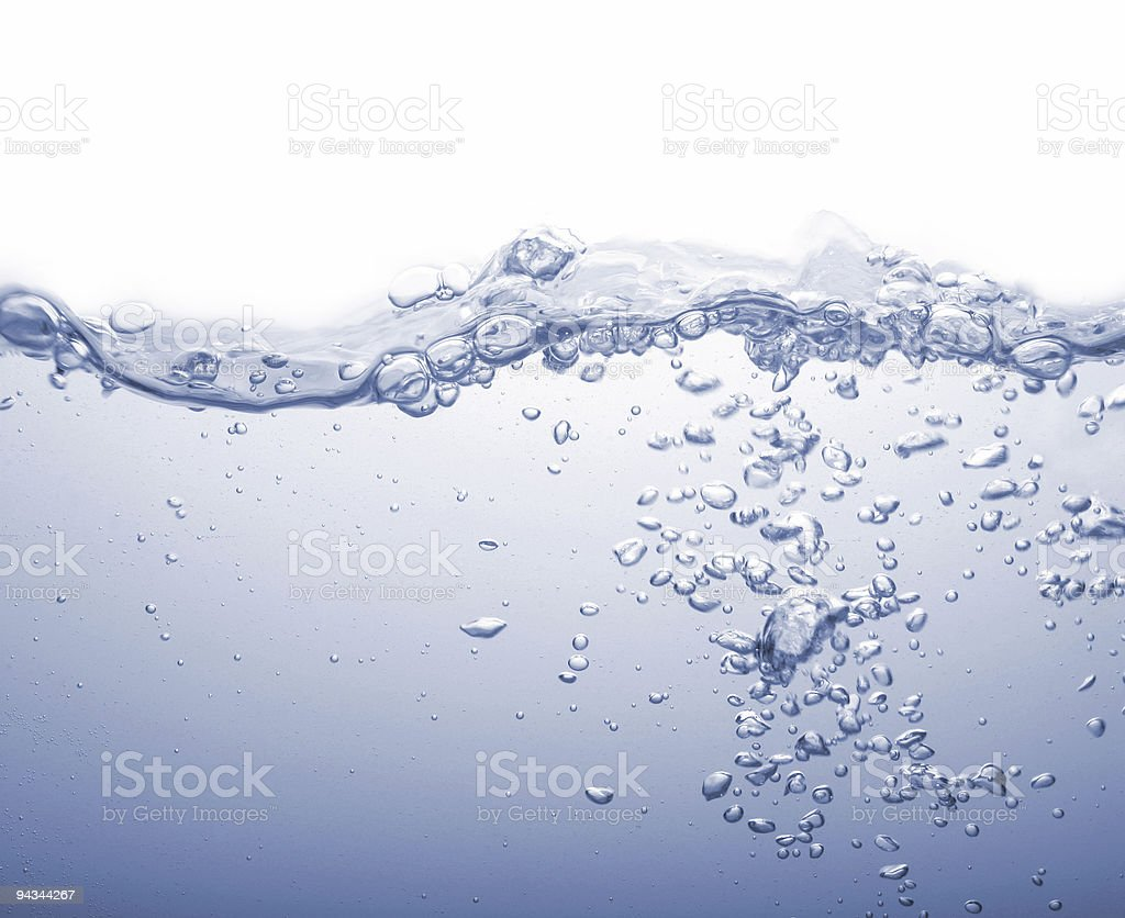 Water splash with blue bubbles isolated on white royalty-free stock photo