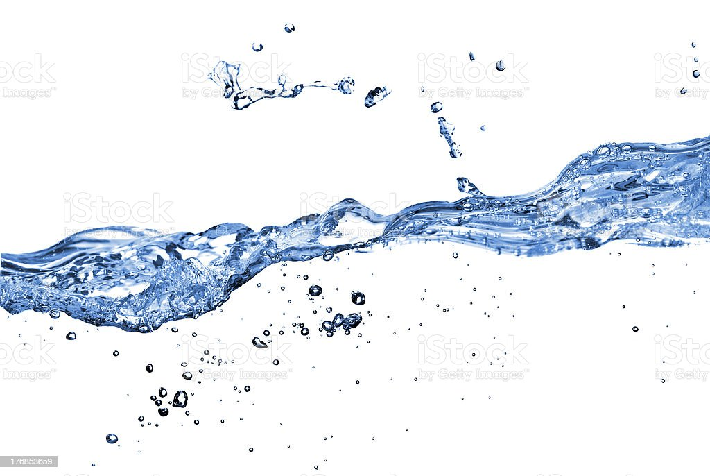 water splash with bubbles isolated on white royalty-free stock photo