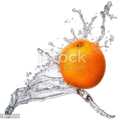 858282944 istock photo Water splash with orange isolated 643894774