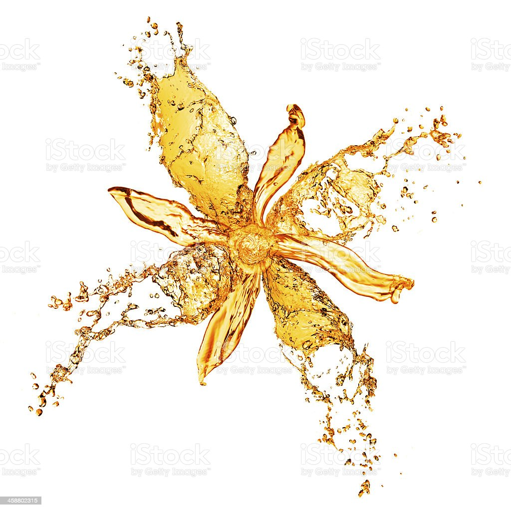 Water splashes forming an abstract yellow flower stock photo