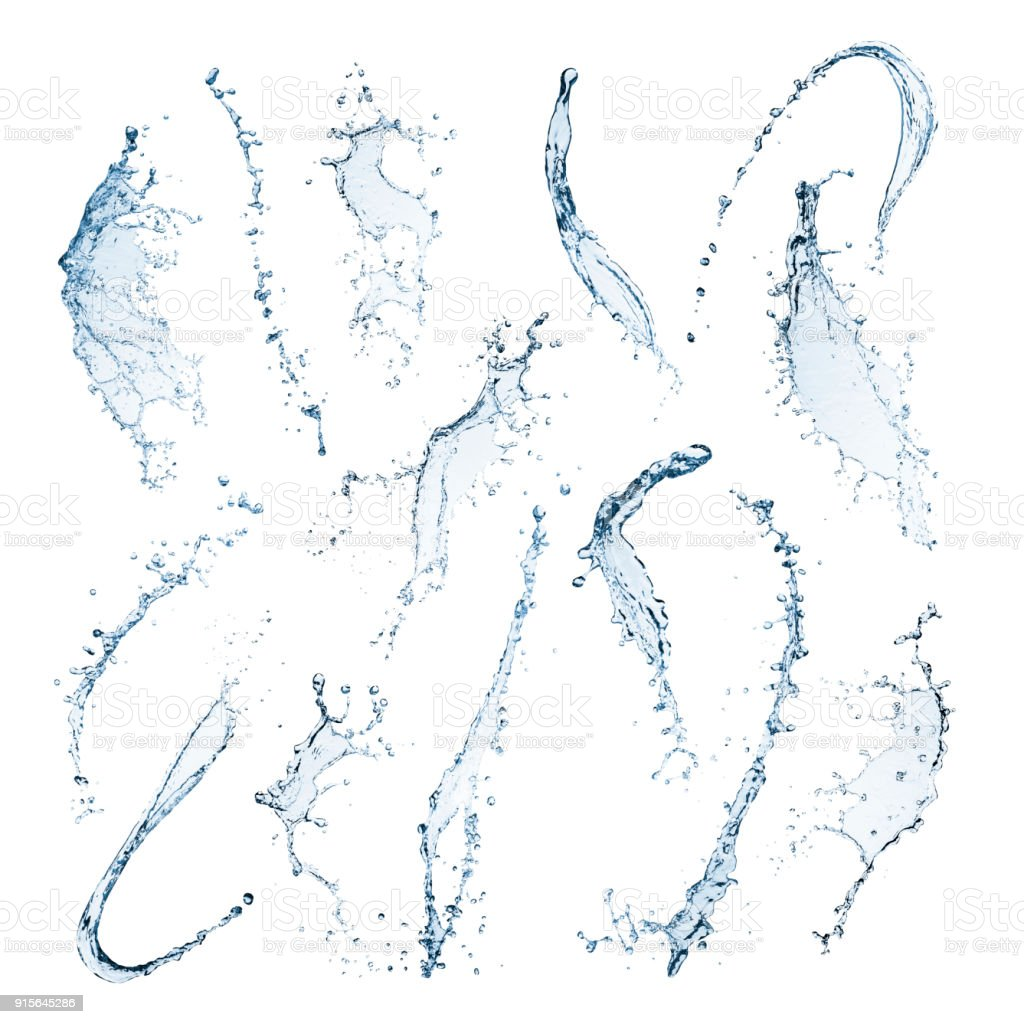 Water splashes isolated on a white background stock photo