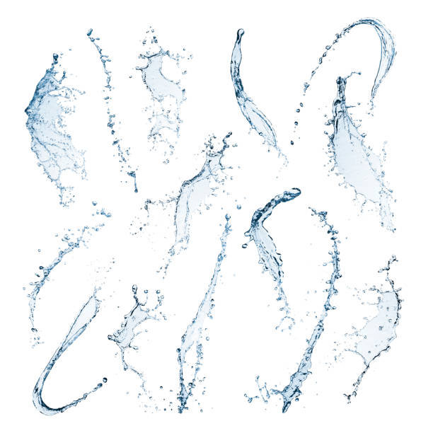 water splashes isolated on a white background - splashing stock photos and pictures